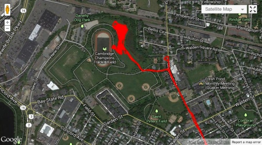 Danehy park, that squiggly bit is us.