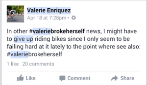 ... and in her darkest hour, Valerie turns to ... Facebook? Really?